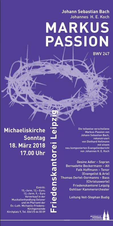 Konzertplakat für die Markuspassion mit den Konzertinformationen