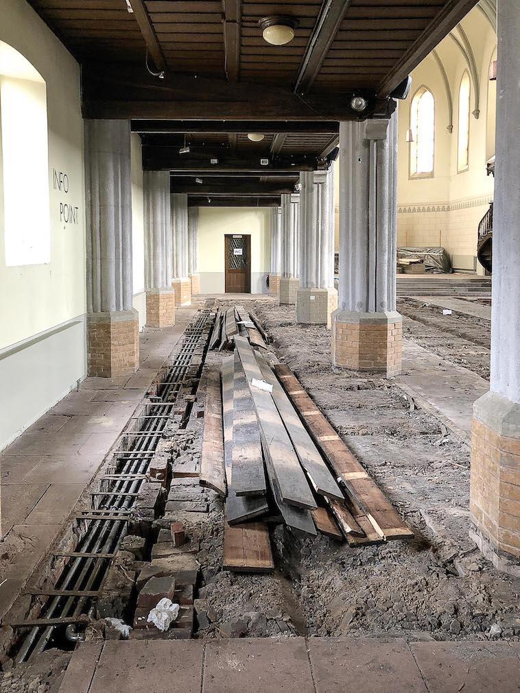 Erneuerung Fußboden Friedenskirche - Nordschiff