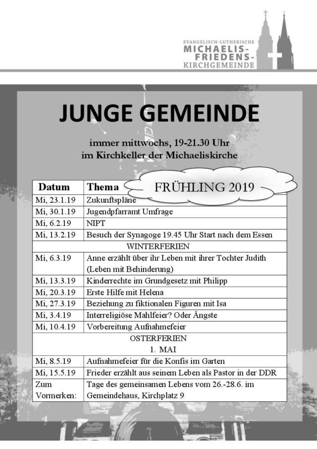 Veranstaltungsplan der Jungen Gemeinde Michaelis-Friedens 2019